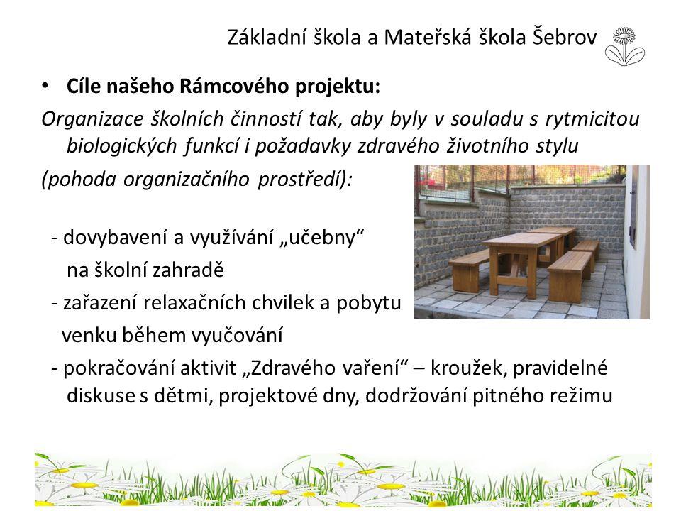 Základní škola a Mateřská škola Šebrov Cíle našeho Rámcového projektu: Organizace školních činností tak, aby byly v souladu s rytmicitou biologických