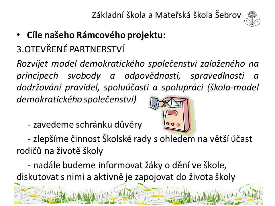 Základní škola a Mateřská škola Šebrov Cíle našeho Rámcového projektu: 3.OTEVŘENÉ PARTNERSTVÍ Rozvíjet model demokratického společenství založeného na
