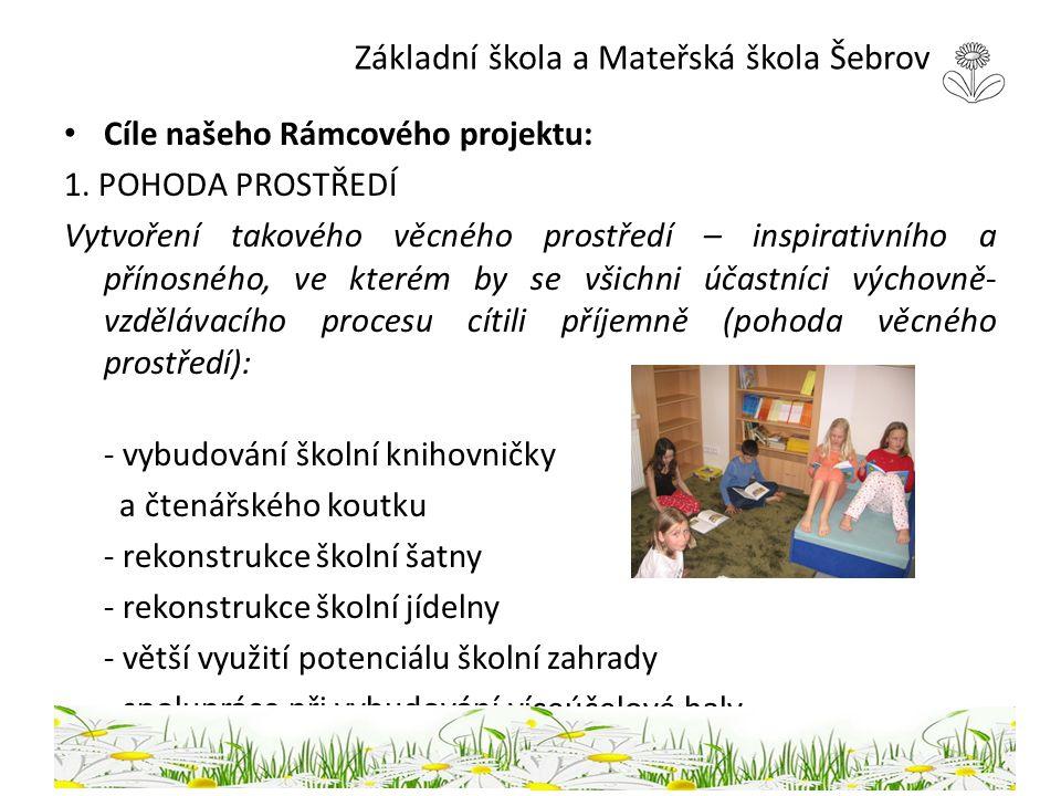 Základní škola a Mateřská škola Šebrov Cíle našeho Rámcového projektu: 1. POHODA PROSTŘEDÍ Vytvoření takového věcného prostředí – inspirativního a pří