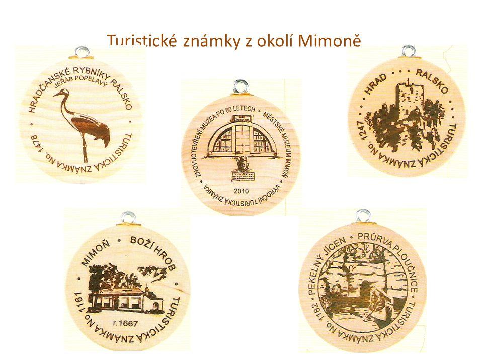 Turistické známky z okolí Mimoně