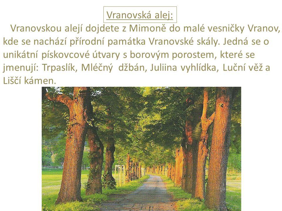 Vranovská alej: Vranovskou alejí dojdete z Mimoně do malé vesničky Vranov, kde se nachází přírodní památka Vranovské skály.
