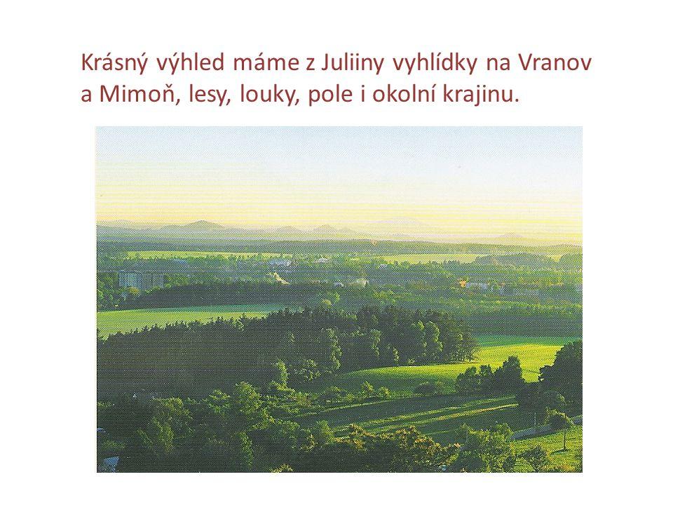 Krásný výhled máme z Juliiny vyhlídky na Vranov a Mimoň, lesy, louky, pole i okolní krajinu.