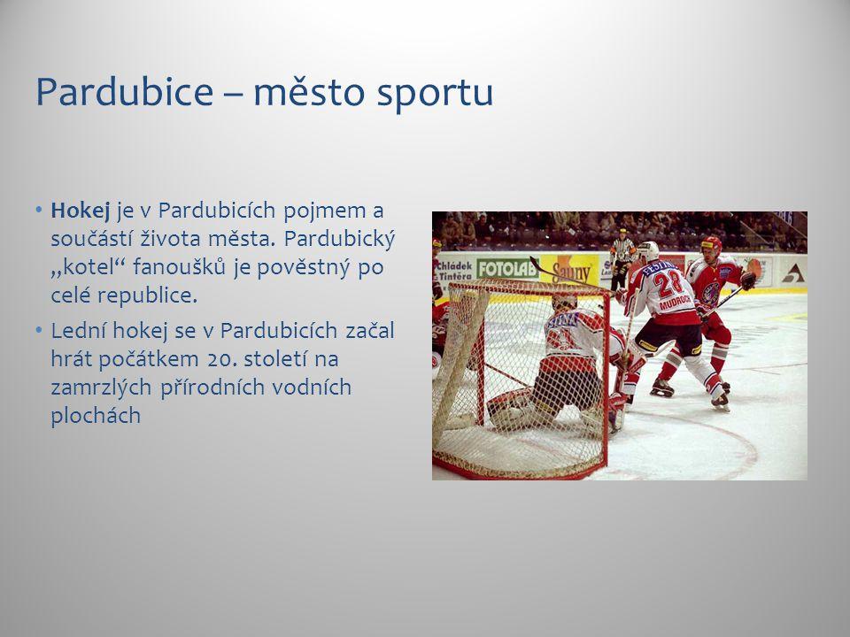 """Pardubice – město sportu Hokej je v Pardubicích pojmem a součástí života města. Pardubický """"kotel"""" fanoušků je pověstný po celé republice. Lední hokej"""