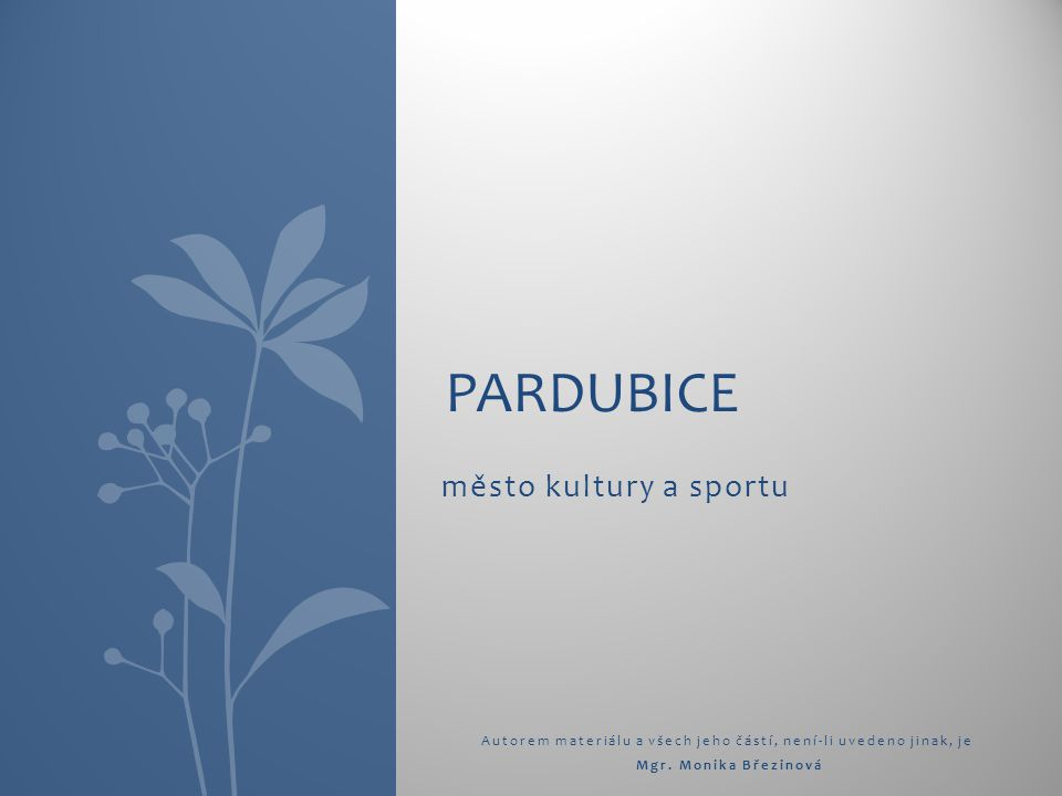 město kultury a sportu Autorem materiálu a všech jeho částí, není-li uvedeno jinak, je Mgr. Monika Březinová PARDUBICE