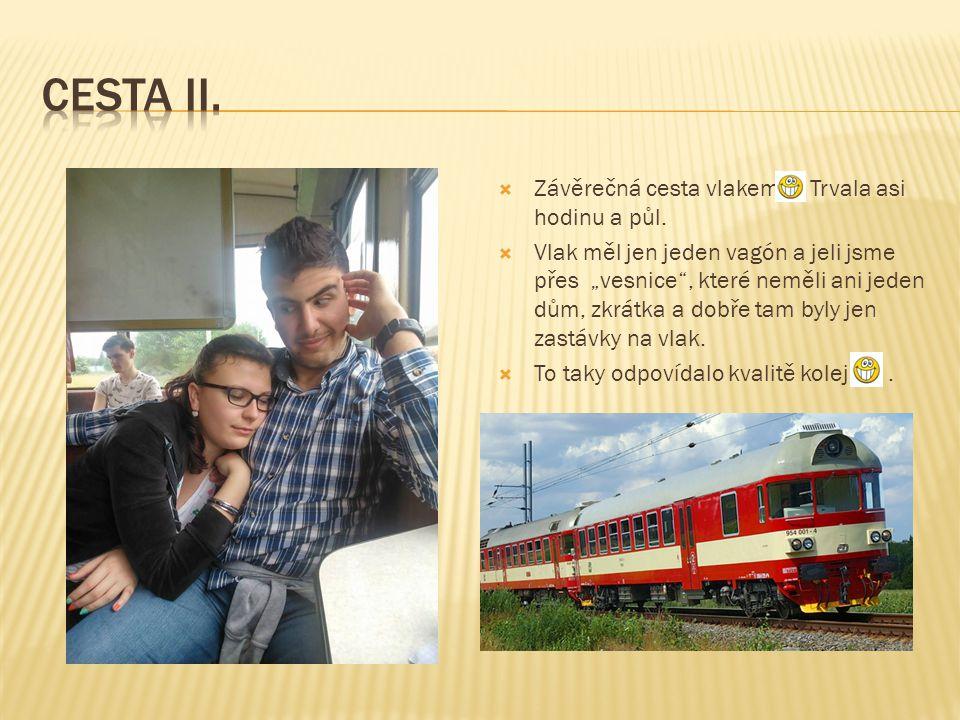 """ Závěrečná cesta vlakem Trvala asi hodinu a půl.  Vlak měl jen jeden vagón a jeli jsme přes """"vesnice"""", které neměli ani jeden dům, zkrátka a dobře t"""