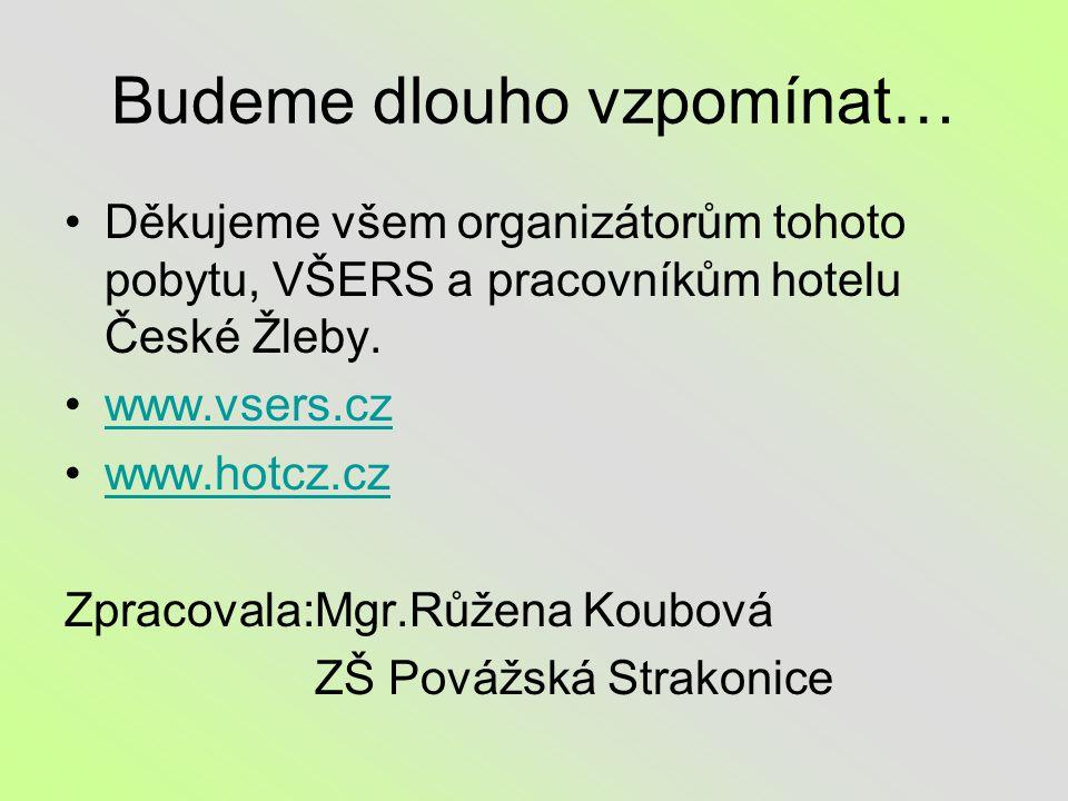 Budeme dlouho vzpomínat… Děkujeme všem organizátorům tohoto pobytu, VŠERS a pracovníkům hotelu České Žleby.