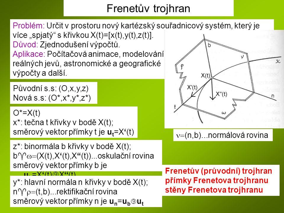 """Frenetův trojhran Problém: Určit v prostoru nový kartézský souřadnicový systém, který je více """"spjatý"""" s křivkou X(t)=[x(t),y(t),z(t)]. Důvod: Zjednod"""