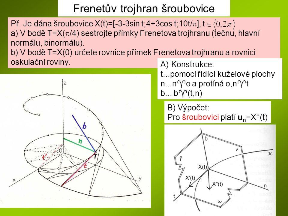 Frenetův trojhran šroubovice B) Výpočet: Pro šroubovici platí u n =X''(t) Př. Je dána šroubovice X(t)=[-3-3sin t;4+3cos t;10t/  ], t a) V bodě T=X( 