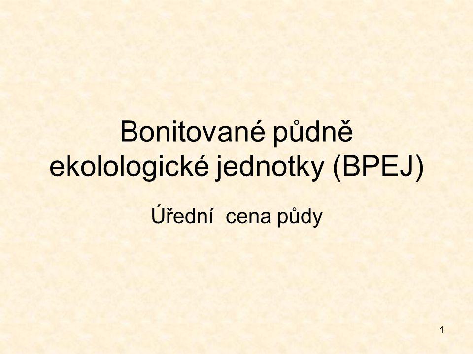 1 Bonitované půdně ekolologické jednotky (BPEJ) Úřední cena půdy