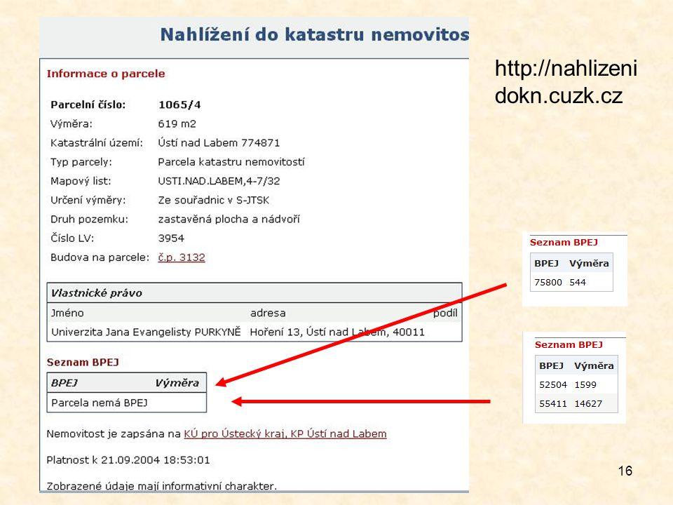 16 http://nahlizeni dokn.cuzk.cz