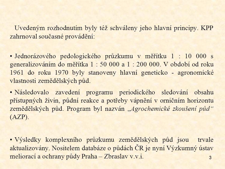 3 Uvedeným rozhodnutím byly též schváleny jeho hlavní principy. KPP zahrnoval současné provádění: Jednorázového pedologického průzkumu v měřítku 1 : 1