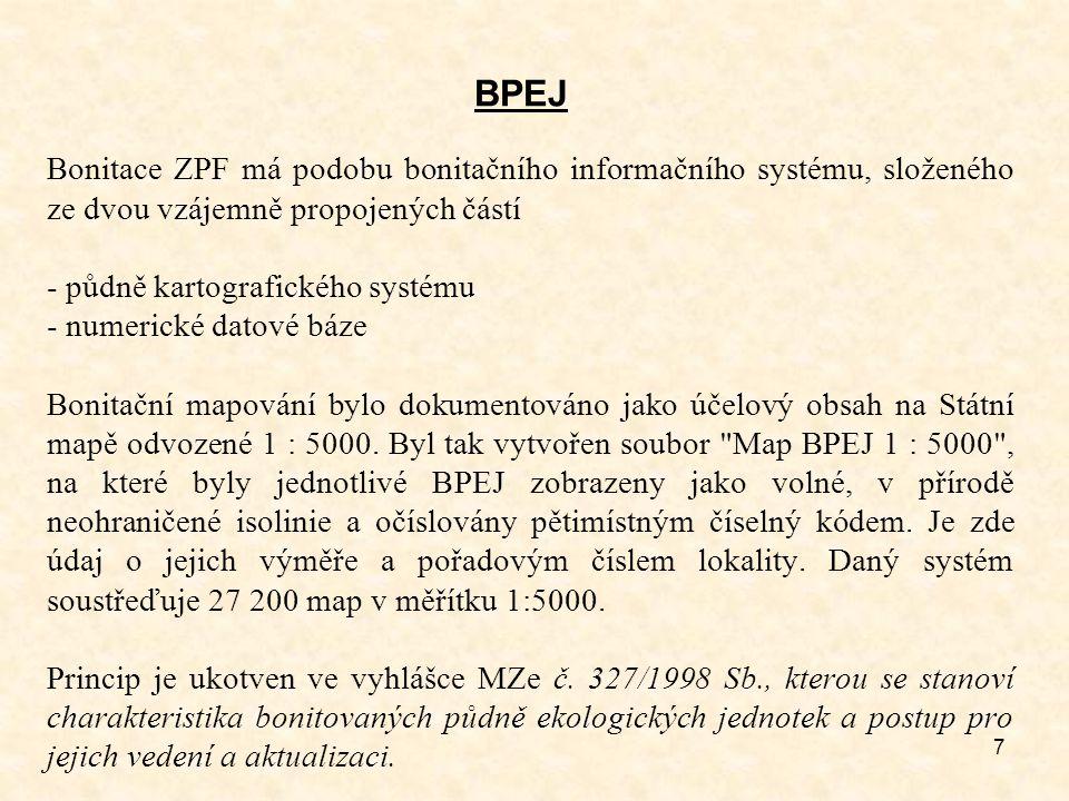 7 BPEJ Bonitace ZPF má podobu bonitačního informačního systému, složeného ze dvou vzájemně propojených částí - půdně kartografického systému - numeric
