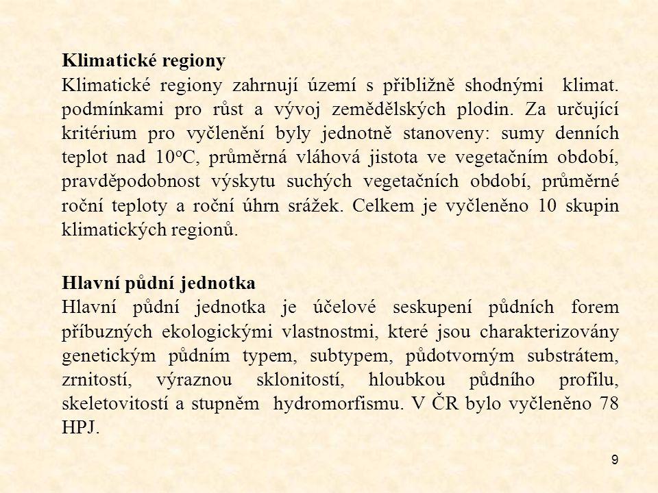 9 Klimatické regiony Klimatické regiony zahrnují území s přibližně shodnými klimat. podmínkami pro růst a vývoj zemědělských plodin. Za určující krité