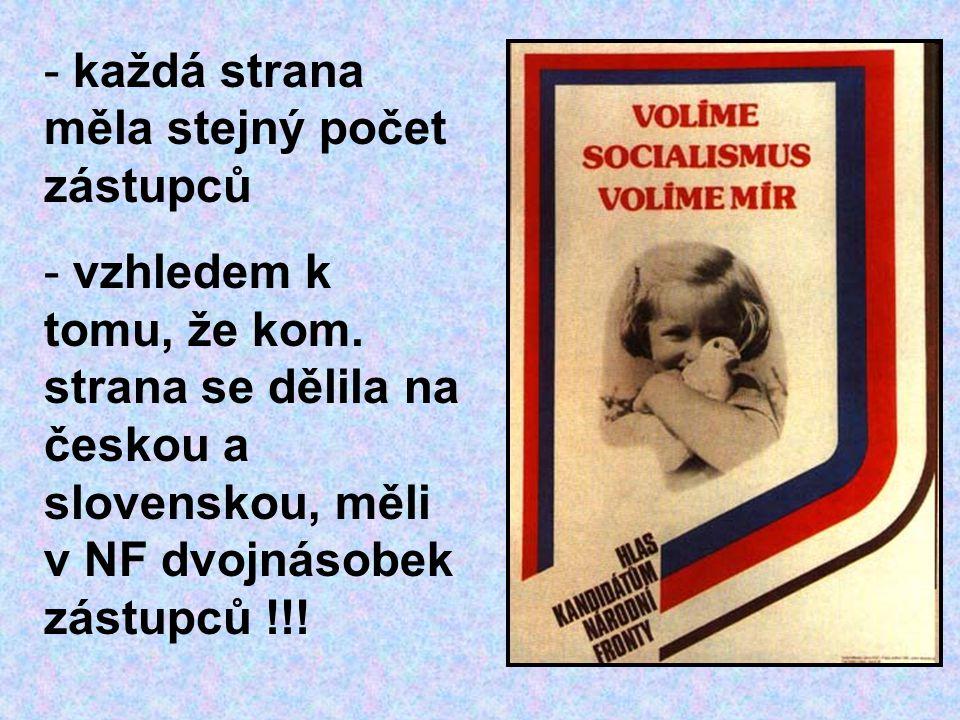 - každá strana měla stejný počet zástupců - vzhledem k tomu, že kom. strana se dělila na českou a slovenskou, měli v NF dvojnásobek zástupců !!!