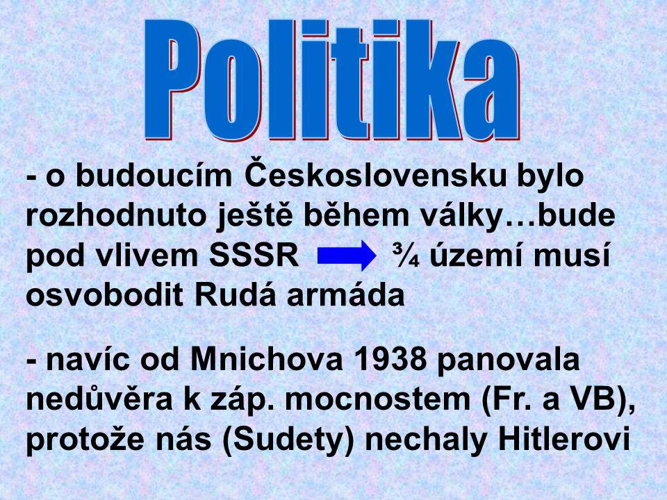 - o budoucím Československu bylo rozhodnuto ještě během války…bude pod vlivem SSSR ¾ území musí osvobodit Rudá armáda - navíc od Mnichova 1938 panoval