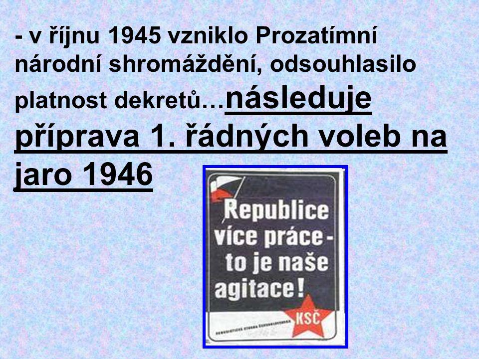 - v říjnu 1945 vzniklo Prozatímní národní shromáždění, odsouhlasilo platnost dekretů… následuje příprava 1. řádných voleb na jaro 1946