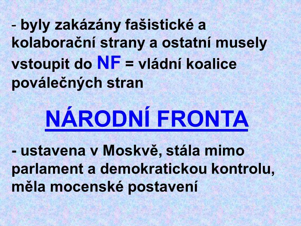 - byly zakázány fašistické a kolaborační strany a ostatní musely vstoupit do NF = vládní koalice poválečných stran NÁRODNÍ FRONTA - ustavena v Moskvě,