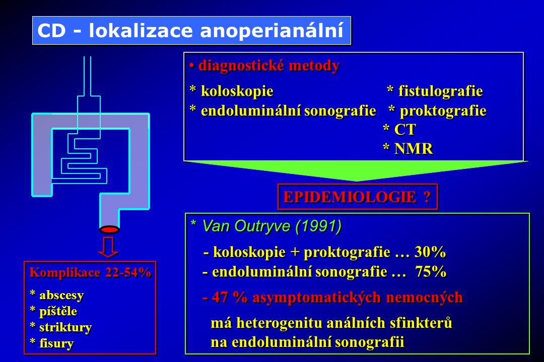 Komplikace 22-54% * abscesy * píštěle * striktury * fisury Komplikace 22-54% * abscesy * píštěle * striktury * fisury CD - lokalizace anoperianální * Van Outryve (1991) - koloskopie + proktografie … 30% - endoluminální sonografie … 75% - 47 % asymptomatických nemocných má heterogenitu análních sfinkterů na endoluminální sonografii * Van Outryve (1991) - koloskopie + proktografie … 30% - endoluminální sonografie … 75% - 47 % asymptomatických nemocných má heterogenitu análních sfinkterů na endoluminální sonografii diagnostické metody * koloskopie * fistulografie * endoluminální sonografie * proktografie * CT * NMR diagnostické metody * koloskopie * fistulografie * endoluminální sonografie * proktografie * CT * NMR EPIDEMIOLOGIE ?