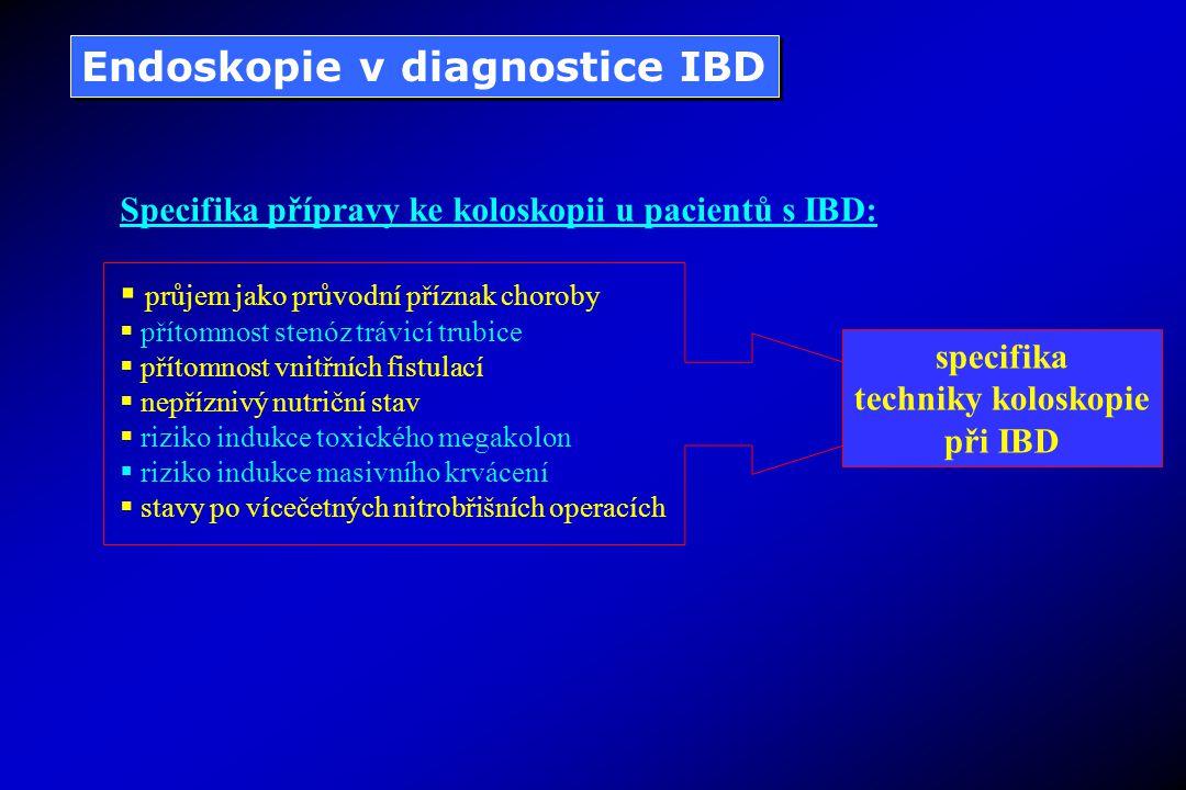 Endoskopie v diagnostice IBD Specifika přípravy ke koloskopii u pacientů s IBD:  průjem jako průvodní příznak choroby  přítomnost stenóz trávicí trubice  přítomnost vnitřních fistulací  nepříznivý nutriční stav  riziko indukce toxického megakolon  riziko indukce masivního krvácení  stavy po vícečetných nitrobřišních operacích specifika techniky koloskopie při IBD