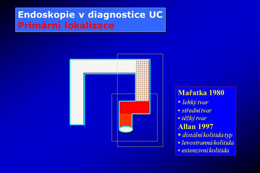 Endoskopie v diagnostice UC Primární lokalizace Endoskopie v diagnostice UC Primární lokalizace Mařatka 1980 lehký tvar střední tvar těžký tvar Allan 1997  distální kolitida typ levostranná kolitida extenzivní kolitida