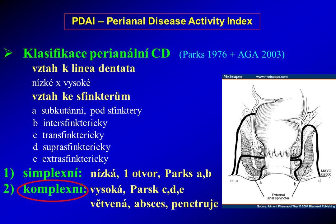  Klasifikace perianální CD (Parks 1976 + AGA 2003) vztah k linea dentata nízké x vysoké vztah ke sfinkterům a subkutánní, pod sfinktery b intersfinkt