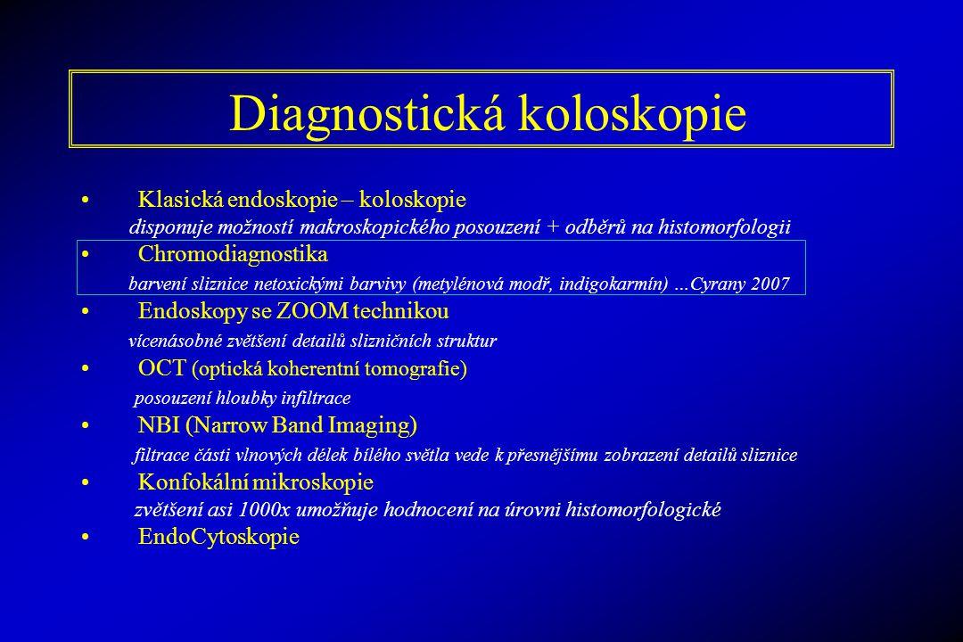 Diagnostická koloskopie Klasická endoskopie – koloskopie disponuje možností makroskopického posouzení + odběrů na histomorfologii Chromodiagnostika ba