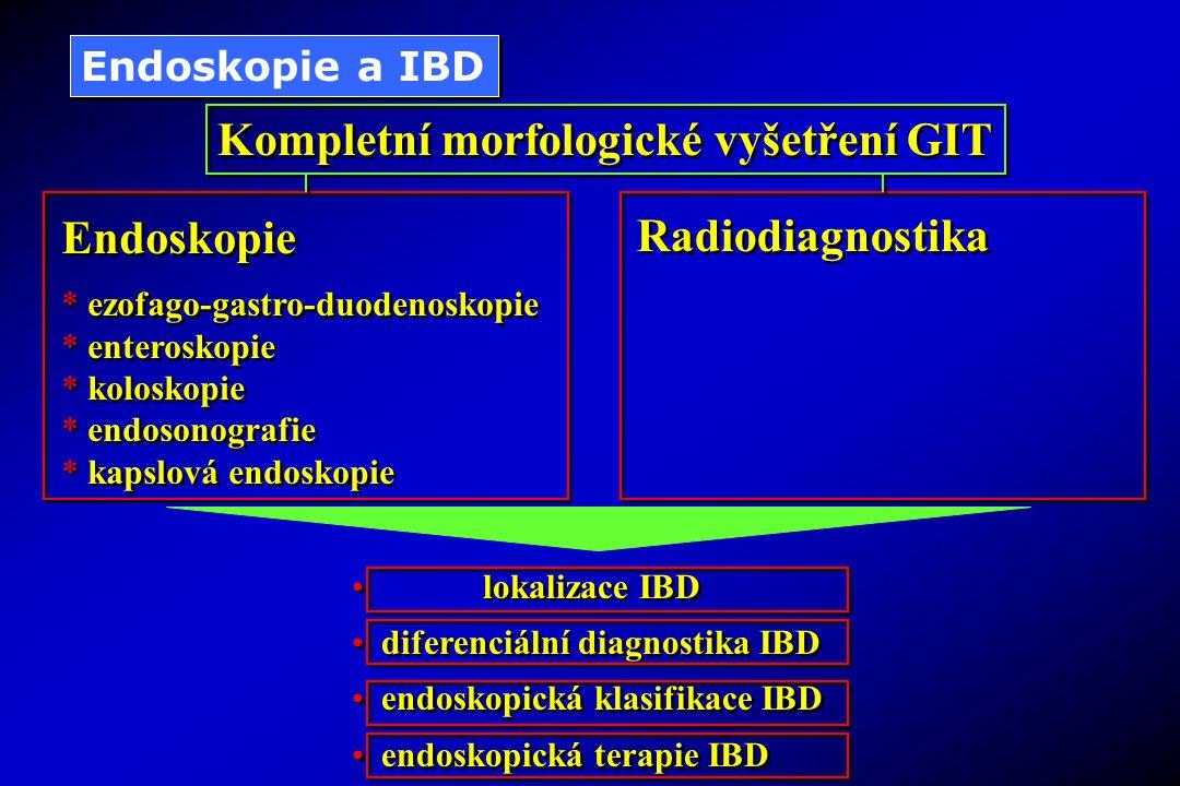 Endoskopie a IBD Kompletní morfologické vyšetření GIT Endoskopie * ezofago-gastro-duodenoskopie * enteroskopie * koloskopie * endosonografie * kapslov