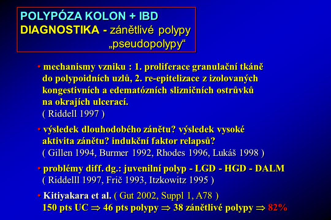 mechanismy vzniku : 1. proliferace granulační tkáně do polypoidních uzlů, 2. re-epitelizace z izolovaných kongestivních a edematózních slizničních ost