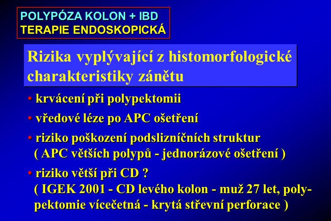 Rizika vyplývající z histomorfologické charakteristiky zánětu Rizika vyplývající z histomorfologické charakteristiky zánětu krvácení při polypektomii