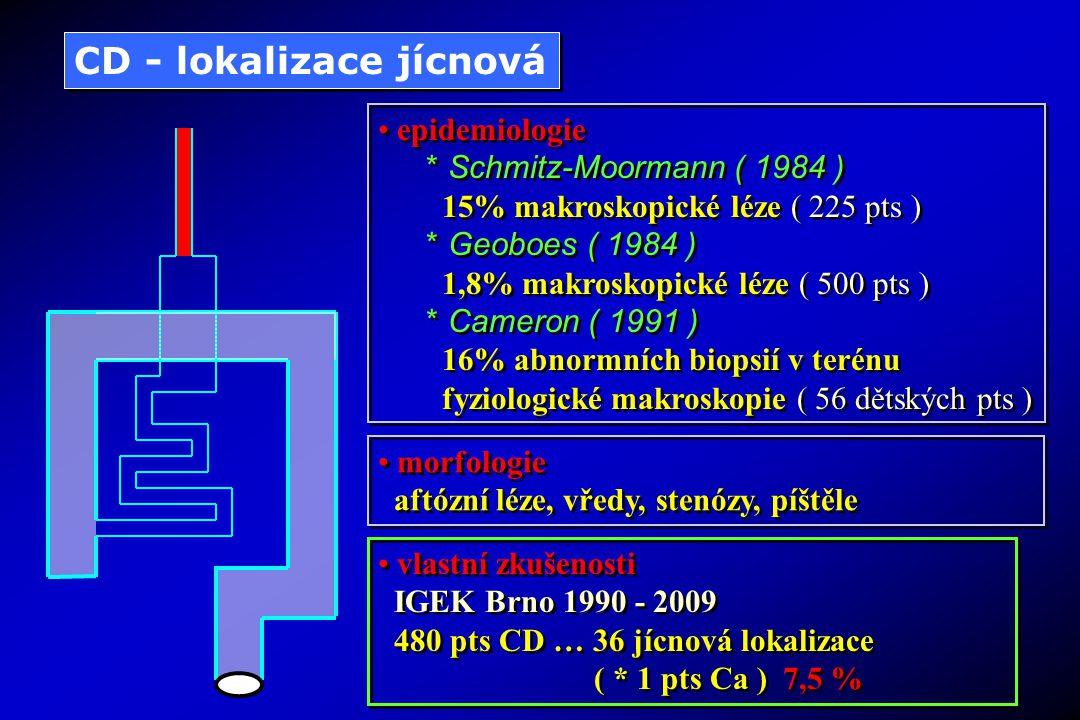vlastní zkušenosti IGEK Brno 1990 - 2009 480 pts CD … 22 pts žaludek 4,5 % 5 pts duodenum 1,04 % vlastní zkušenosti IGEK Brno 1990 - 2009 480 pts CD … 22 pts žaludek 4,5 % 5 pts duodenum 1,04 % CD - lokalizace žaludeční a duodenální epidemiologie * Schmitz-Moormann ( 1984 ) 49% makroskopické léze, 29,4% nekaseifikující granulomy ( 221 pts ) * Cameron ( 1991 ) 46% tělo žaludku, 36% antrum žaludku 21% duodenum ( 56 dětských pts ) epidemiologie * Schmitz-Moormann ( 1984 ) 49% makroskopické léze, 29,4% nekaseifikující granulomy ( 221 pts ) * Cameron ( 1991 ) 46% tělo žaludku, 36% antrum žaludku 21% duodenum ( 56 dětských pts ) morfologie * aftózní léze, vředy, nodularity, píštěle, stenózy * infraampulární obstrukce duodena + + pankreatitida - cholangitida ( Alcantra 1993, Subhabote 1993, Kato 1992 ) morfologie * aftózní léze, vředy, nodularity, píštěle, stenózy * infraampulární obstrukce duodena + + pankreatitida - cholangitida ( Alcantra 1993, Subhabote 1993, Kato 1992 )