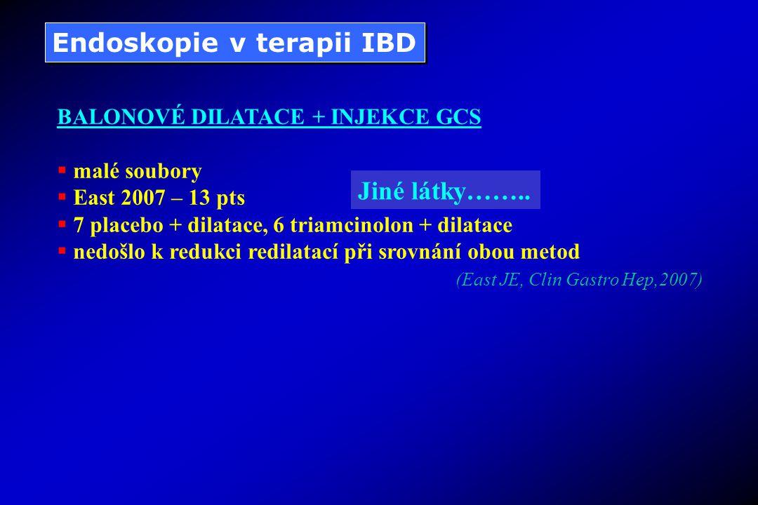 Endoskopie v terapii IBD BALONOVÉ DILATACE + INJEKCE GCS  malé soubory  East 2007 – 13 pts  7 placebo + dilatace, 6 triamcinolon + dilatace  nedošlo k redukci redilatací při srovnání obou metod (East JE, Clin Gastro Hep,2007) Jiné látky……..