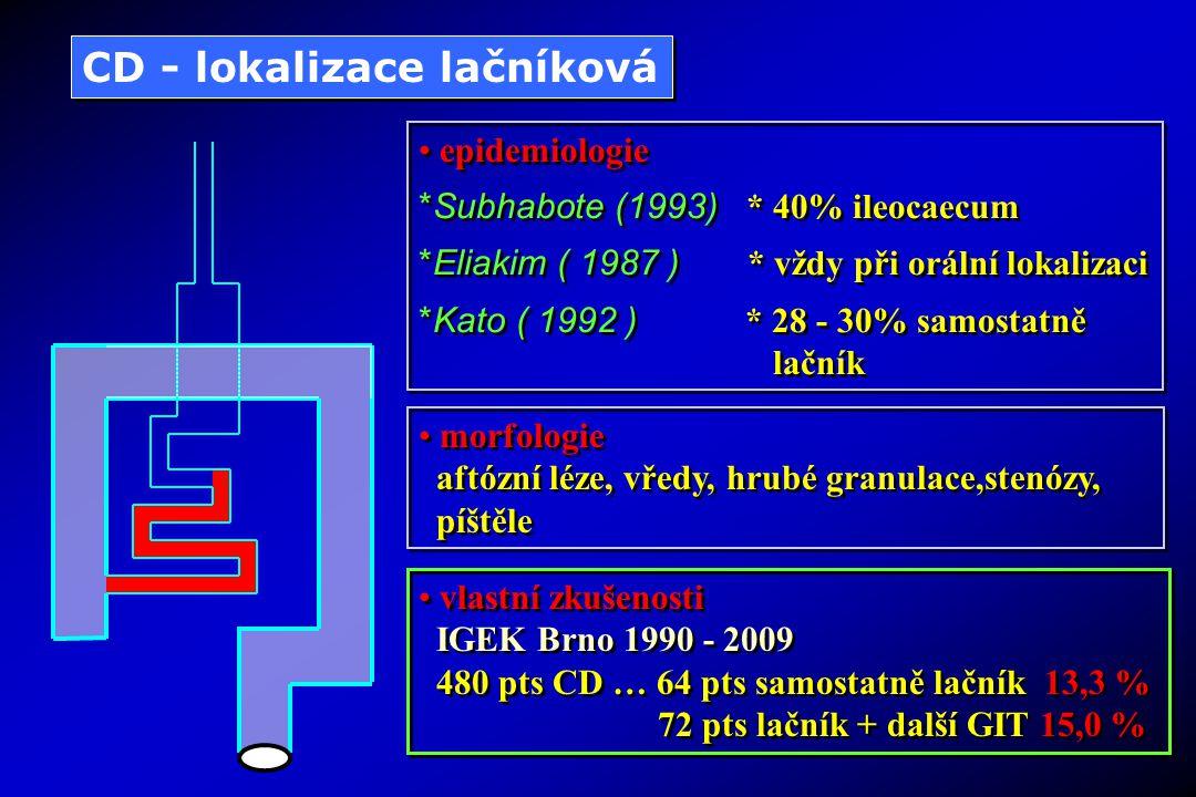 Diagnostická koloskopie Klasická endoskopie – koloskopie disponuje možností makroskopického posouzení + odběrů na histomorfologii Chromodiagnostika barvení sliznice netoxickými barvivy (metylénová modř, indigokarmín) …Cyrany 2007 Endoskopy se ZOOM technikou vícenásobné zvětšení detailů slizničních struktur OCT (optická koherentní tomografie) posouzení hloubky infiltrace NBI (Narrow Band Imaging) filtrace části vlnových délek bílého světla vede k přesnějšímu zobrazení detailů sliznice Konfokální mikroskopie zvětšení asi 1000x umožňuje hodnocení na úrovni histomorfologické EndoCytoskopie