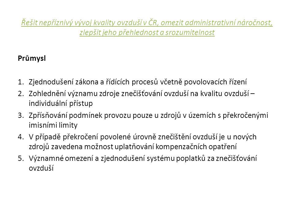 Řešit nepříznivý vývoj kvality ovzduší v ČR, omezit administrativní náročnost, zlepšit jeho přehlednost a srozumitelnost Průmysl 1.Zjednodušení zákona