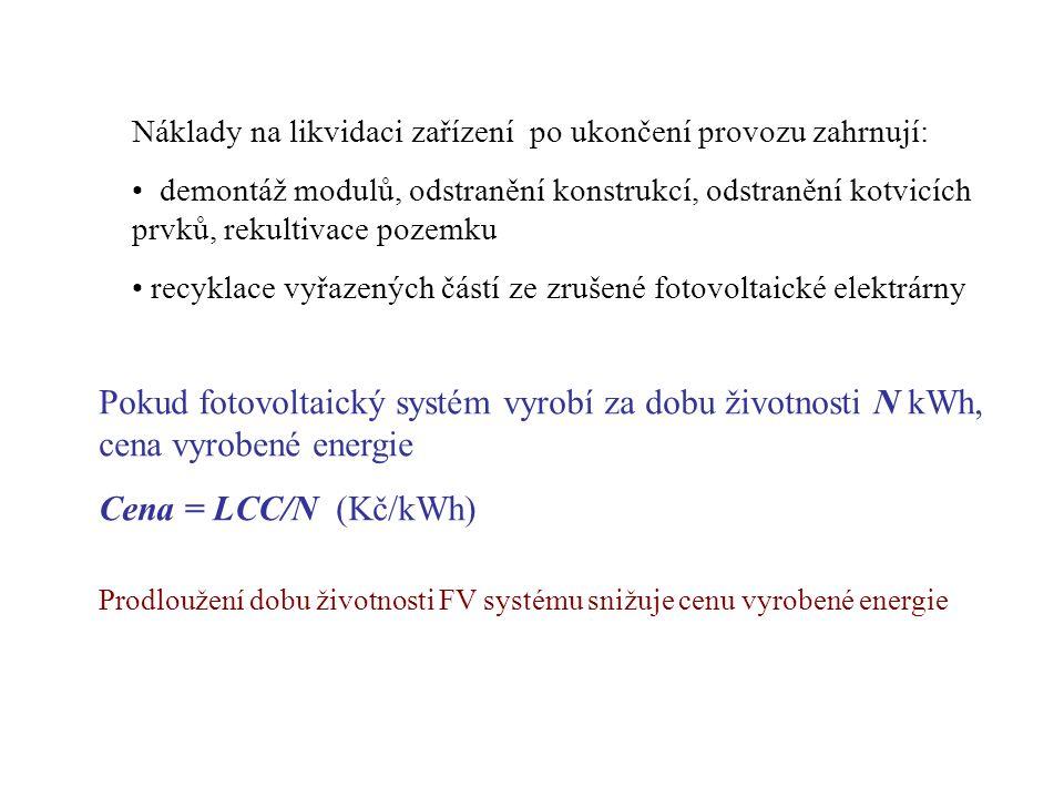 Pokud fotovoltaický systém vyrobí za dobu životnosti N kWh, cena vyrobené energie Cena = LCC/N (Kč/kWh) Náklady na likvidaci zařízení po ukončení provozu zahrnují: demontáž modulů, odstranění konstrukcí, odstranění kotvicích prvků, rekultivace pozemku recyklace vyřazených částí ze zrušené fotovoltaické elektrárny Prodloužení dobu životnosti FV systému snižuje cenu vyrobené energie