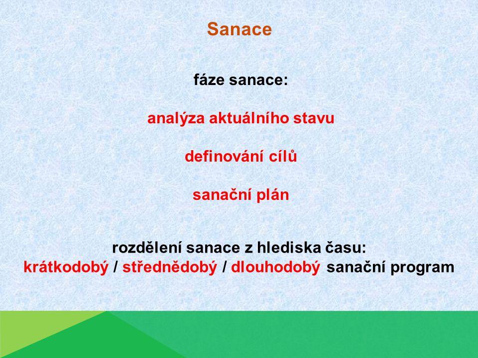 Sanace rozdělení sanace z hlediska času: krátkodobý / střednědobý / dlouhodobý sanační program fáze sanace: analýza aktuálního stavu definování cílů sanační plán