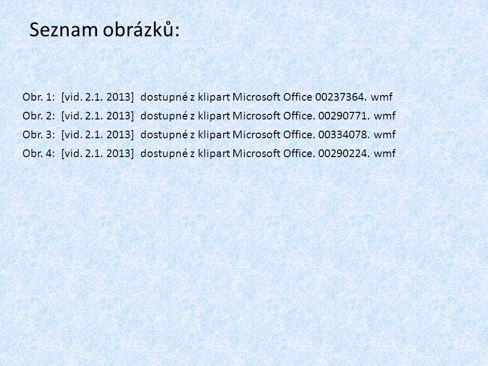 Seznam obrázků: Obr. 1: [vid. 2.1. 2013] dostupné z klipart Microsoft Office 00237364. wmf Obr. 2: [vid. 2.1. 2013] dostupné z klipart Microsoft Offic