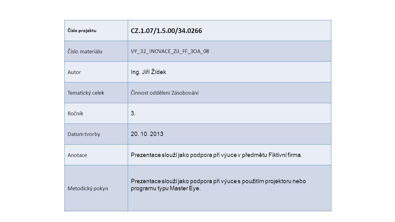 Číslo projektu CZ.1.07/1.5.00/34.0266 Číslo materiáluVY_32_INOVACE_ZiJ_FF_3OA_08 Autor Ing. Jiří Žídek Tematický celekČinnost oddělení Zásobování Ročn