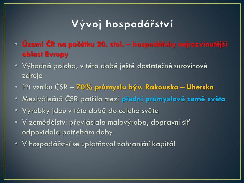 Území ČR na počátku 20. stol. – hospodářsky nejrozvinutější oblast Evropy Území ČR na počátku 20.