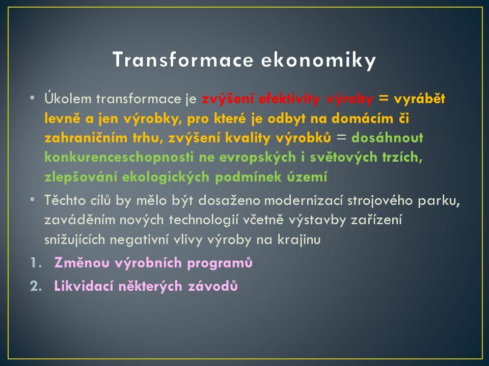 Úkolem transformace je zvýšení efektivity výroby = vyrábět levně a jen výrobky, pro které je odbyt na domácím či zahraničním trhu, zvýšení kvality výr