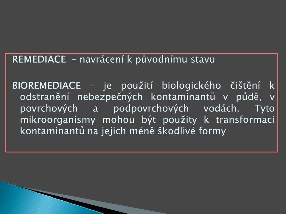 REMEDIACE - navrácení k původnímu stavu BIOREMEDIACE – je použití biologického čištění k odstranění nebezpečných kontaminantů v půdě, v povrchových a