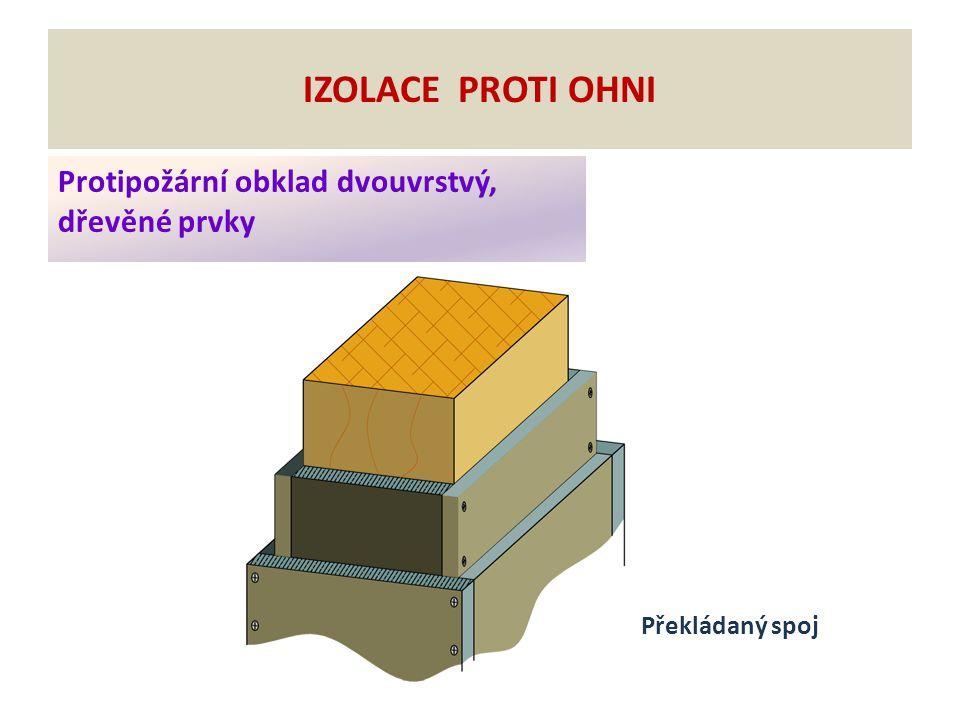 Protipožární obklad dvouvrstvý, dřevěné prvky IZOLACE PROTI OHNI Překládaný spoj