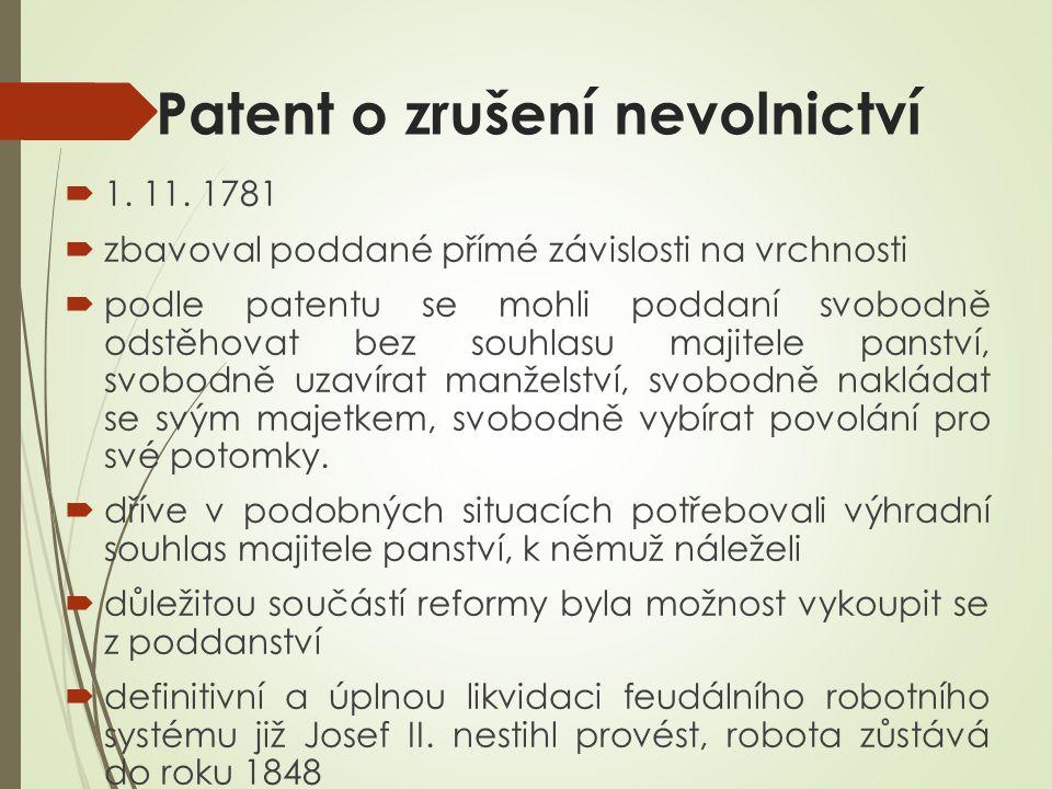 Patent o zrušení nevolnictví  1. 11.