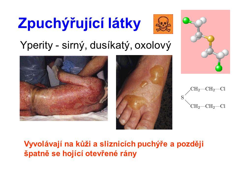 Zpuchýřující látky Yperity - sirný, dusíkatý, oxolový Vyvolávají na kůži a sliznicích puchýře a později špatně se hojící otevřené rány
