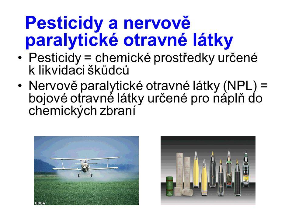 Pesticidy a nervově paralytické otravné látky Pesticidy = chemické prostředky určené k likvidaci škůdců Nervově paralytické otravné látky (NPL) = bojo