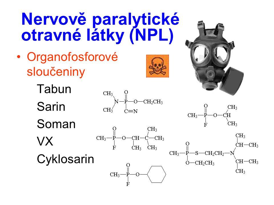 Nervově paralytické otravné látky (NPL) Organofosforové sloučeniny Tabun Sarin Soman VX Cyklosarin