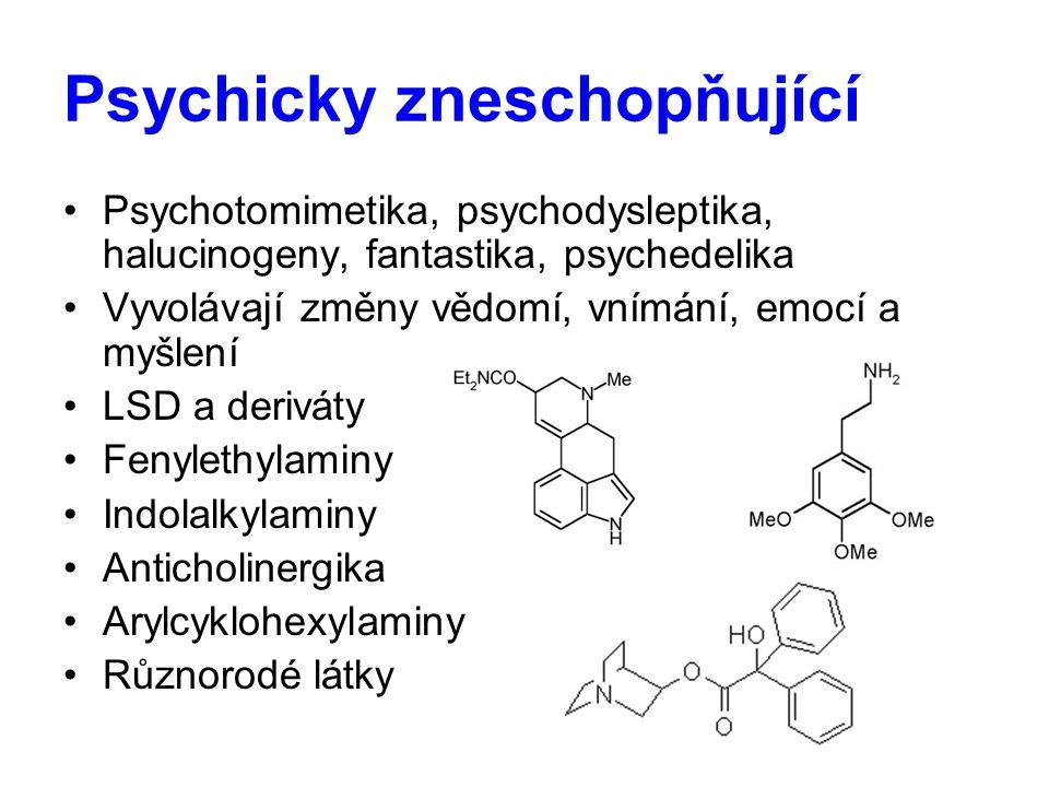 Psychicky zneschopňující Psychotomimetika, psychodysleptika, halucinogeny, fantastika, psychedelika Vyvolávají změny vědomí, vnímání, emocí a myšlení