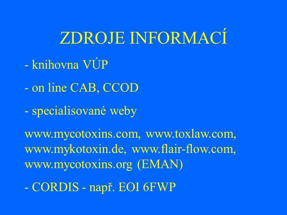 ZDROJE INFORMACÍ - knihovna VÚP - on line CAB, CCOD - specialisované weby www.mycotoxins.com, www.toxlaw.com, www.mykotoxin.de, www.flair-flow.com, www.mycotoxins.org (EMAN) - CORDIS - např.