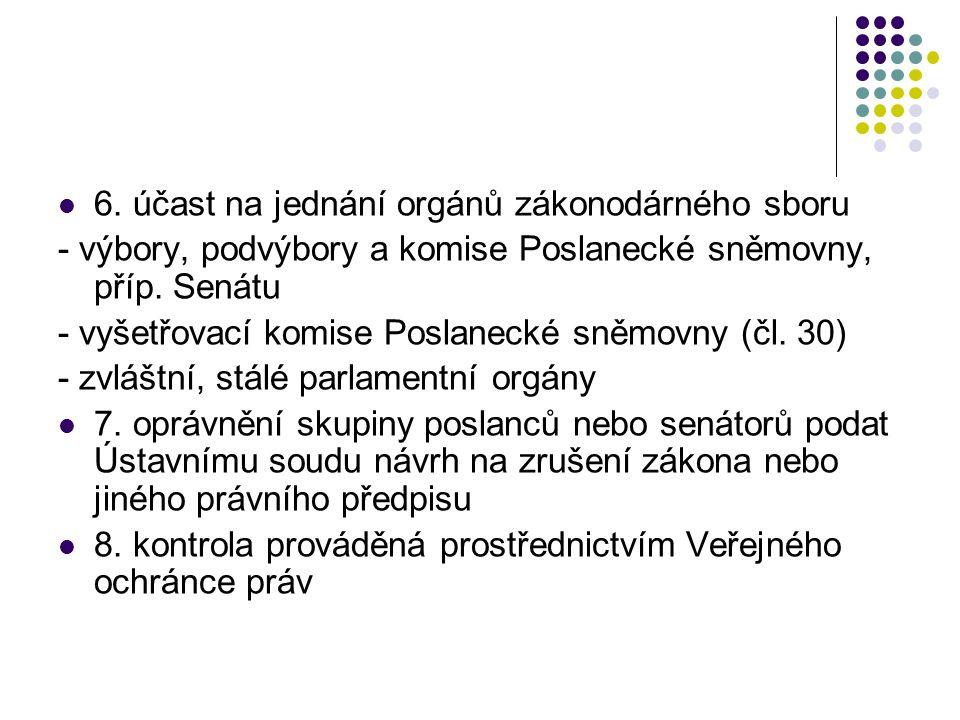 6. účast na jednání orgánů zákonodárného sboru - výbory, podvýbory a komise Poslanecké sněmovny, příp. Senátu - vyšetřovací komise Poslanecké sněmovny