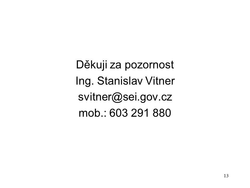 13 Děkuji za pozornost Ing. Stanislav Vitner svitner@sei.gov.cz mob.: 603 291 880