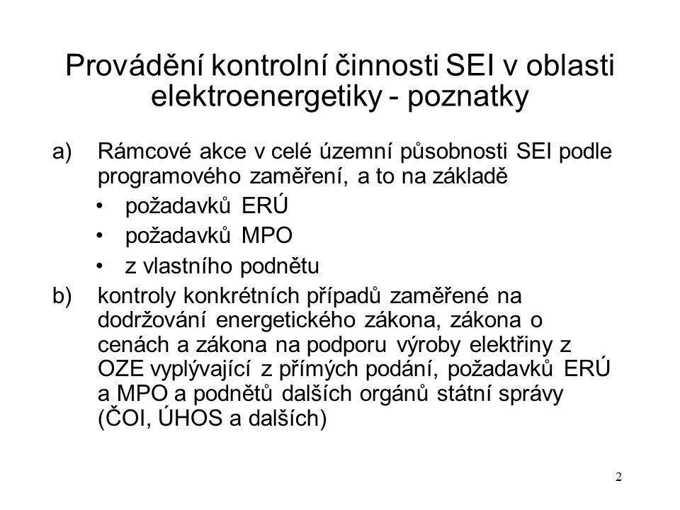 2 Provádění kontrolní činnosti SEI v oblasti elektroenergetiky - poznatky a)Rámcové akce v celé územní působnosti SEI podle programového zaměření, a t